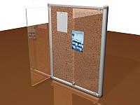 Стенд информационный с дверцами и замком, 420х600 мм (Покрытие : Аппликация пленками ORACAL, фон +1 слой; )