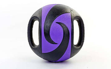 М'яч медичний (медбол) з двома рукоятками 10кг (гума, d-27,5 см)