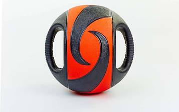 М'яч медичний (медбол) з двома рукоятками 3кг (гума, d-23см, чорний-червоний)