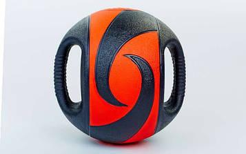 М'яч медичний (медбол) з двома рукоятками 8кг (гума, d-27,5 см, чорний-червоний)