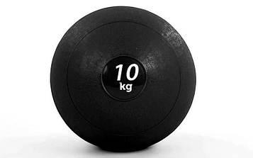 М'яч медичний (слембол) SLAM BALL 10кг (гума, мінеральний наповнювач, d-23см, чорний)