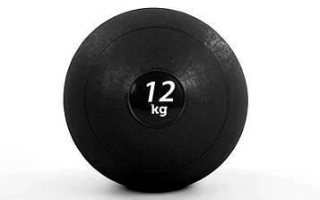 М'яч медичний (слембол) SLAM BALL 12кг (гума, мінеральний наповнювач, d-23см, чорний)
