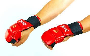 Рукавички для карате, джиу-джитсу шкіряні MATSA (р-р L-XL, червоний, манжет на гумці)