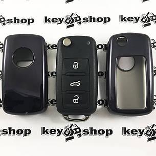 Чехол (черный, полиуретановый) для выкидного ключа Seat (Сиат), кнопки без защиты, фото 2