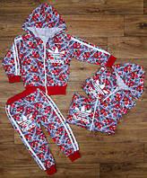 """Яркий спортивный костюм """"Adidas""""с цветочным принтом для девочки (92-116 см) 27П100"""