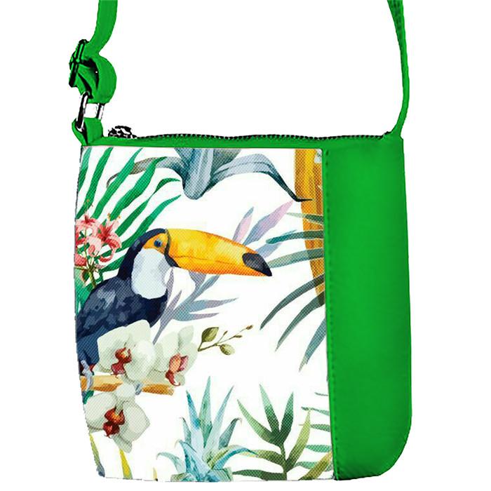 Зеленая сумка для девочки с принтом Пеликан