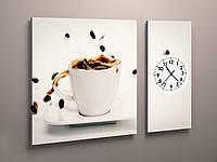 Картина с часовым механизмом на кухню Кофе
