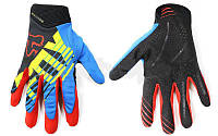 Кроссовые перчатки текстильные FOX (закр. пальцы, р-р M-XL, синий-красный-черный)