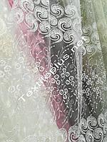 Тюль белая вышивка