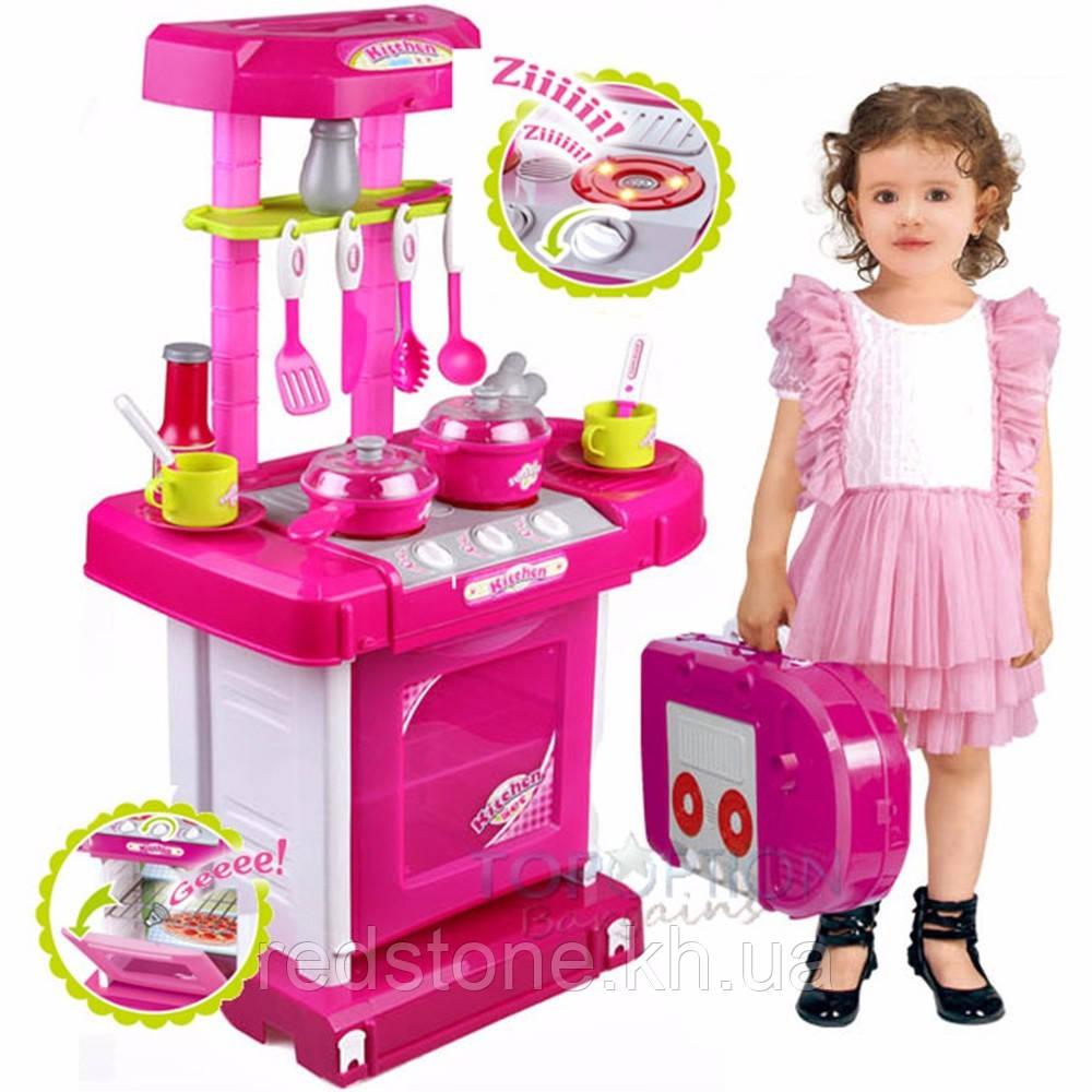 Детская кухня в пластиковом чемодане световые и звуковые эффекты (кипения,воды,жарки...)
