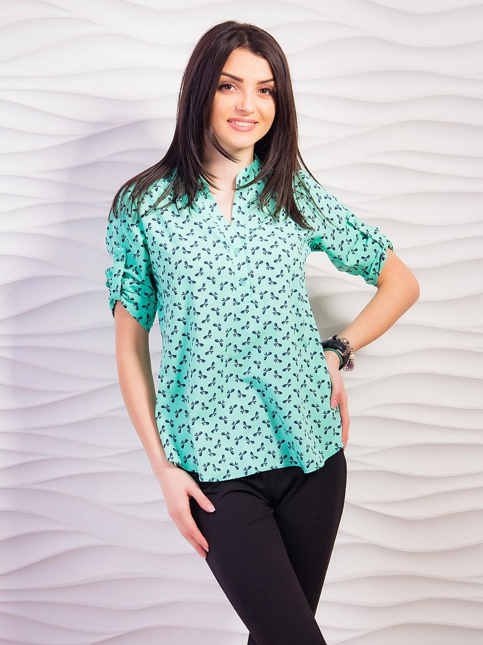 476c13593a9 Бирюзовая блузка с воротником стойкой - Интернет-магазин женской одежды