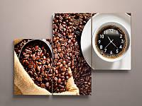 Модульная картина на холсте с часами Кофе