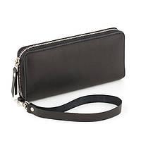 Кожаный женский клатч-кошелёк черный крейзи