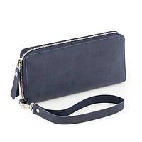 Кожаный женский клатч-кошелёк синий крейзи