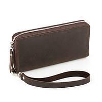 Кожаный женский клатч-кошелёк коричневый крейзи