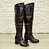 Ботфорты демисезонные кожаные коричневого цвета, фото 2