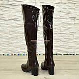 Ботфорты демисезонные кожаные коричневого цвета, фото 3