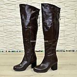 Ботфорты демисезонные кожаные коричневого цвета, фото 4