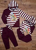 Детский бордовый спортивный костюм в полоску (86-92 см) 27П116