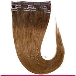 Натуральные Европейские Волосы на Заколках 50 см 115 грамм, Омбре №04-08
