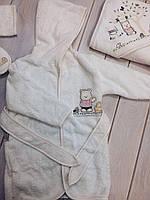 Банный набор детский полотенце, халат,тапки