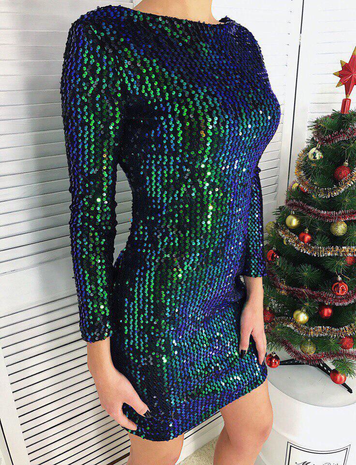 ab30f757e18 Шикарное коктейльное платье пайетка хамелеон на бархате   продажа ...