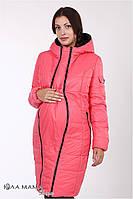 """Длинное зимнее двухстороннее пальто для беременных """"Kristin"""" из плащевки, черный с малиновым"""