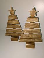 """Декор из дерева """"Елочка со звездой"""" на подставке, коричневый"""