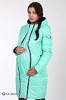 """Длинное зимнее двухстороннее пальто для беременных """"Kristin"""" черное с мятой"""