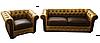 """Кожаный диван с креслом """"Граф САН-РЕМО"""" (3р+1)"""