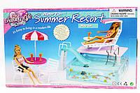 Мебель GLORIA 2578 с бассейном для кукол 29 см, горка, шезлонг, зонт, 2 стула, в коробке 36*22*7 см