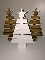 """Деревянный  декор """"Елочка со звездой"""" на подставке, белый"""