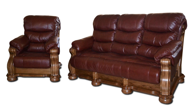 """Новый кожаный диван с креслом """"CEZAR V"""" (3р+1)"""