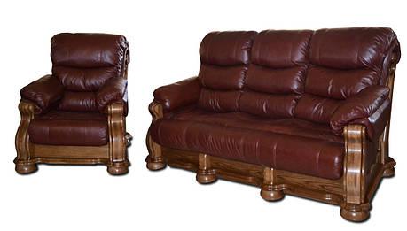 """Новый кожаный диван с креслом """"CEZAR V"""" (3р+1), фото 2"""