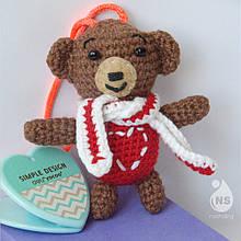Іграшка-брязкальце амігурумі - Ведмедик Валентин