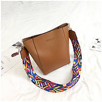 Женская сумка с цветным плечевым ремешком коричневая опт, фото 1