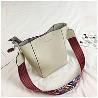 Женская сумка серая с цветным плечевым ремешком экокожа опт, фото 1