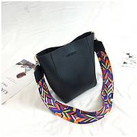 Женская сумка черная с цветным плечевым ремешком экокожа опт, фото 1