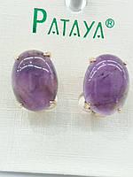 Фиолетовые старинные серьги под натуральный камень, серьги оптом. 2394