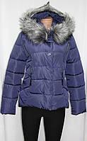 Куртка молодежная зимняя короткая, синяя, холлофайбер, с капюшоном