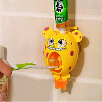 Детский забавный дозатор зубной пасты с мордашкой Спанч Боба, желтый