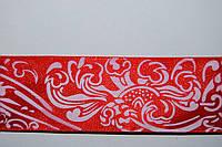 Лента атлас красная с белым рисунком 40мм.