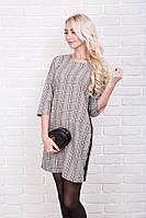 Женское платье в клетку с кружевными полосками р.44-48 AR99680-4
