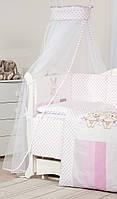 Балдахин для детской кровати Twins Dolce D-002 Друзі зайчики, розовый