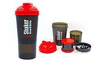Шейкер 3-х камерный для спортивного питания  (пластик, 600мл, черный-красный)