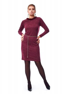 Модное женское платье с мехом норки
