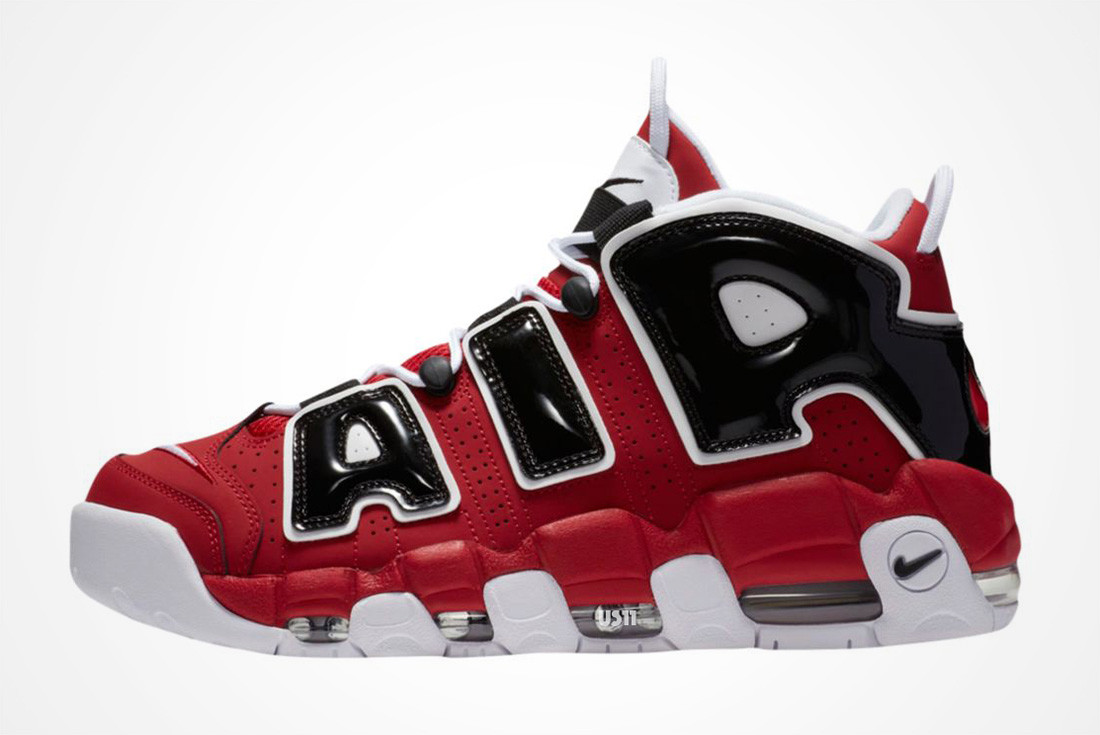 Мужские кроссовки Nike Air More Uptempo Red Black