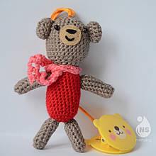 Іграшка-брязкальце амігурумі - Ведмедик Боня