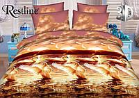 Постельное белье 3 D Лебидь полуторный комплект