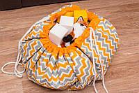 """Плеймат оранжевый  """"Лисички и зигзаг"""" 100 см  (коврик-трансформер, мешок для игрушек)"""